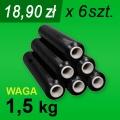Folia stretch czarna 1,5 kg - 6 szt.
